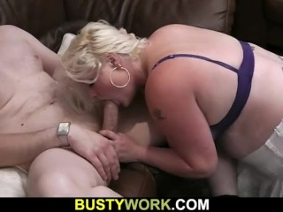 Gorgeous blonde plumper doggy-fucked