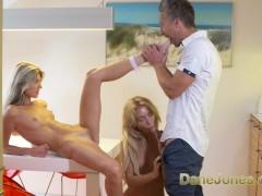 Dane Jones Hot lesbians kiss and lick pussy before big cock orgasm fuck