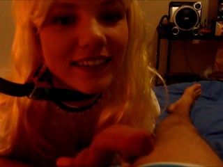 Petite Blonde Teen is sucking a dick then fucking in Doggystyle