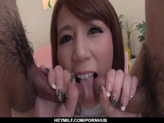 Maki Koizumi appealing babe using toys on her pussy and ass