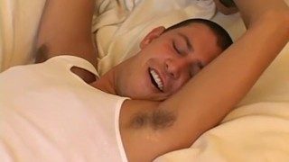 Homos Ethan and Chip have deviant bondage session in bed