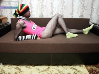 Fishnet bodysuit and swimsuit in ankle socks
