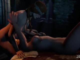 Futanari - Cerys throatfucks Yennefer - Witcher animation (loop)