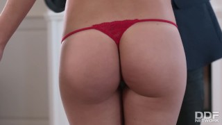 Preview 1 of Sexy fitness slut fucks her clothing designers brains out