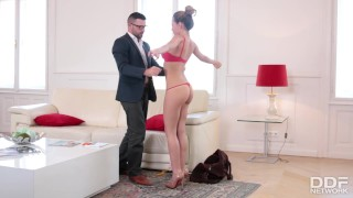 Preview 4 of Sexy fitness slut fucks her clothing designers brains out