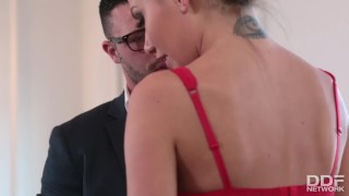 Preview 5 of Sexy fitness slut fucks her clothing designers brains out