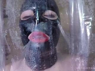 Latex Doll Solo Shower Suck and Fuck