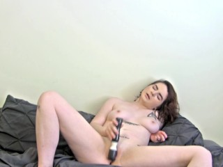 Young Tattooed College Girl Masturbates with Toy