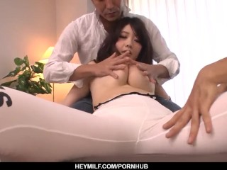 Fantastic Rie Tachikawa uses all her energy on two dicks