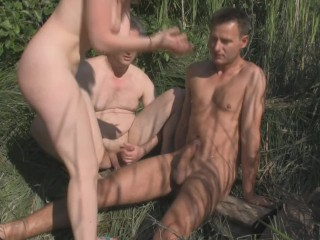 Ebony babe riding in a white cock in woods