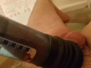 Late Night Bath Fun With a Bathmate and Fleshlight Part 1