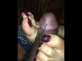 Asian lady gives me footjob in back of nail shop