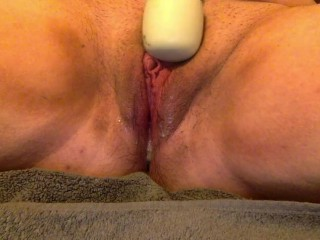 FTM Trans Male Masturbation with Wand & Glass Dildo
