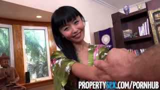 PropertySex - Hot Japanese tenant fucks her landlord