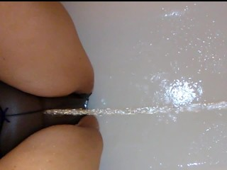 Chubby MILF Pisses Her Panties & Then He Does Too