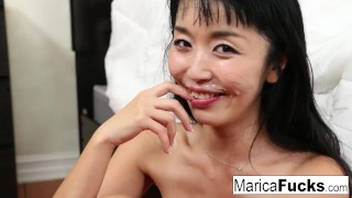 Marica Hase gets dick slammed!!  hairy pussy old asian maricahase blowjob pornstar puba cumshot skinny hardcore japanese brunette facial