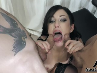 Hot MILF Jennifer White Sucks 2 Big Cocks & Gets Her Face Covered In Cum!