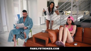 FamilyStrokes - Fucking My Sexy Stepdad While Mom Sleeps  step daughter big tits big cock asian tattoo busty hardcore brunette stepdad familystrokes shaved big boobs step daddy cum shot brenna sparks step father