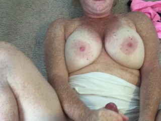 Tried to shoot him on my tits and got my face!