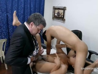 Daddy and Asian Boys Barebacking Threesome