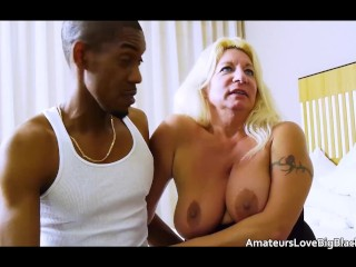 old granny blonde takes younger big black cock