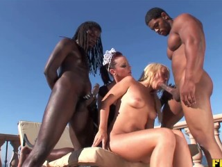 Two Giant Black Cocks for White Girls' Tight Asses