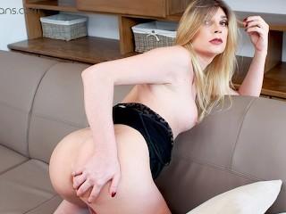 ts vr porn - small tits blonde ts milf masturbate and ass play
