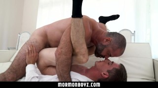 MormonBoyz-Straightboy missionary barebacked by dominant muscle bear priest