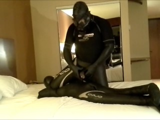 orca having fun with his orca dummy