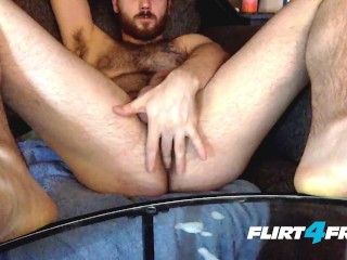 image Leo starlight on flirt4free guys big dicked hairy stud wanks on his sofa