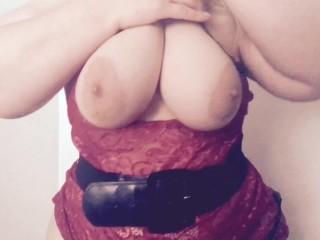 Big tit blonde lingerie and belt striptease