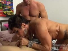 Mature Female Bodybuilder Sucks Two Cocks