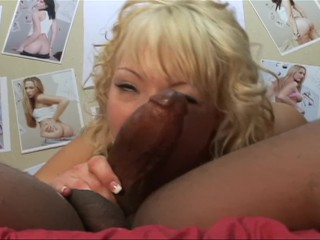 petite blonde slut takes a big black dick and gets her mouth full of cum