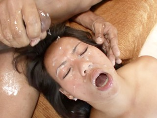 Little Asian Slut Destroyed by Huge Black Cock and Gets Massive Facial