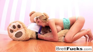Preview 3 of Brett Rossi plays with a strap-on dildo