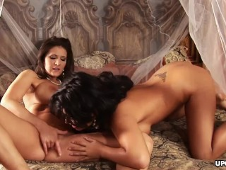 Classy lesbian brunettes hungrily lap on each other's smooth pussies