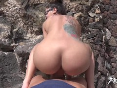 Julia De Lucia got covered glasses with cum after outdoor hard fuck