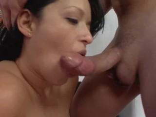 latina milf mason storm shows huge tits rides big dick during casting
