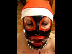 : Jingle bells New Year's Eve latex Mrs. Claus ring gag dripping deepthroat
