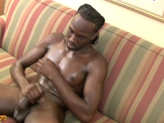 Big Big Dick Ebony Dude stroking His meat