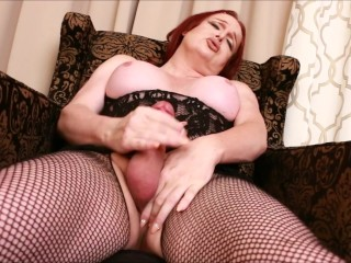 Plump Bust Transsexual Wendy Stroking and Shooting a Load