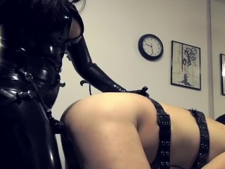 hard fucking Her slave with a big black strap-on