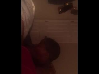 Ebony Sucks dick until I Cum in her mouth