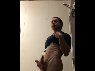 Horny Stud Masturbates to Relieve Tension in Restroom