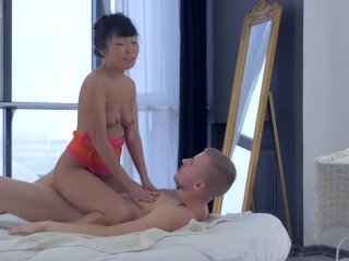 Incredibly Beautiful Asian Teen babe recieves luxury Anal Training