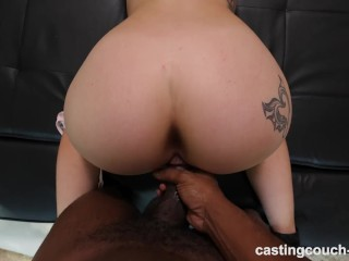 Thick white girl having her first black cock during casting