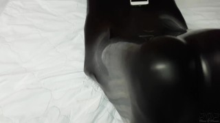 Miss Perversion Trapped, Teased & Breath Controlled in a Latex Sleepsack!  breath play bdsm kink petite mask latex bondage trapped adult toys sleepsack mummification female submissive rebreather breath control