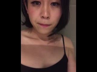 Young Asian Tranny jerking off in shower and big load of cum shot