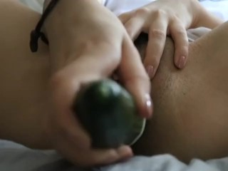 Big cucumber makes my tight pussy soaked as fuck