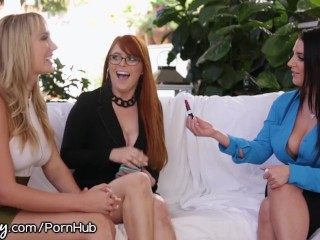 Girlsway Angela White Big Titty Hookup with Redhead and Blone